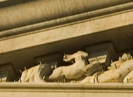 MacNeil's 'Hare' on south corner of east Pediment sculpture.