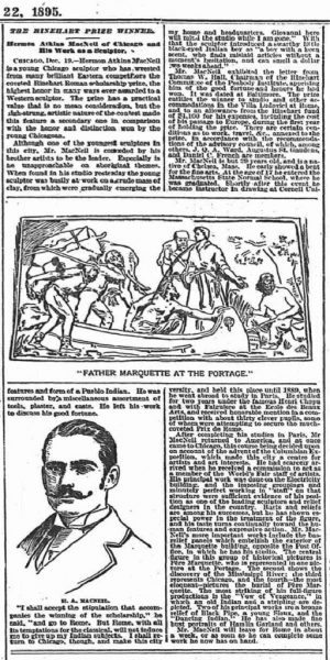 "New York Sun December 22, 1895 ""The Reinhart Prize Winner ~ Hermon Atkins Macneil of Chicago"""
