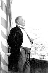 McKinley making his last public speech. before he was assassinated, Buffalo, New York, September 5, 1901. (His pose in this photo resembles that of MacNeil's statue of him in 1904). (Credit: Frances B. Johnson-Ohio Historical Society-AL00501)