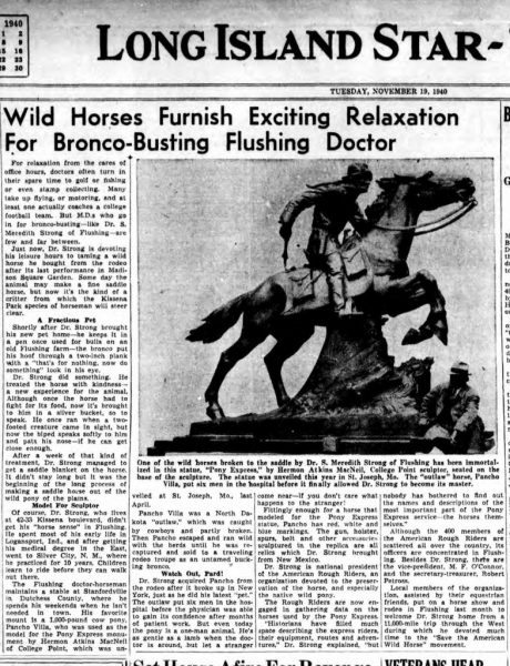 """Hermon MacNeil' """"Pony Express"""" monument is modeled on an actual wild  stallion from North Dakota named """"Poncho Villa."""""""