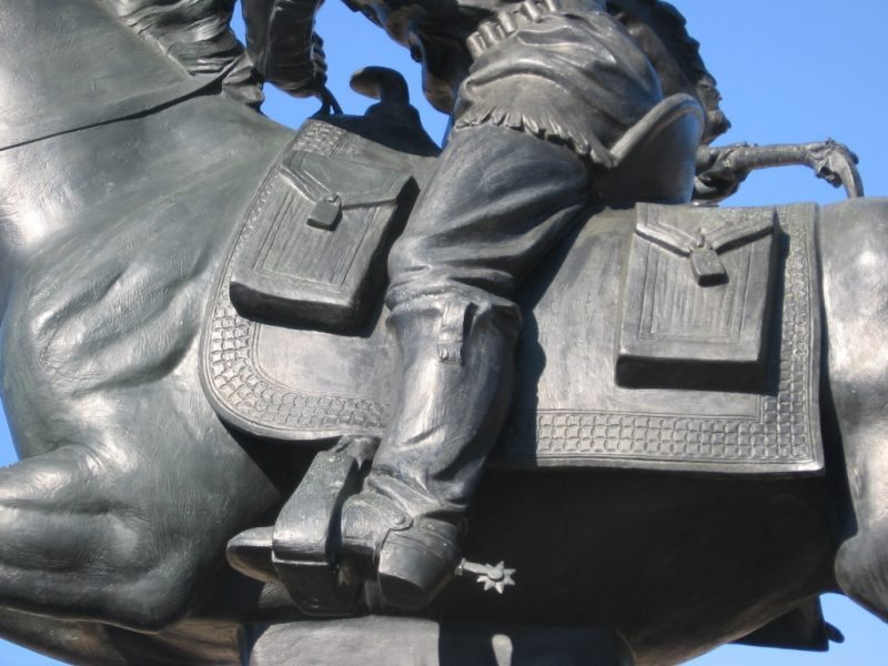 Details of the mail bags as MacNeil modeled them after Dr Strong's authentic Pony express gear from the 1930's.
