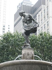 Doris Doscher (Baum) modeled for Karl Bitter's Abundance in the Pulitzer Fountain at the Plaza Hotel in New York.