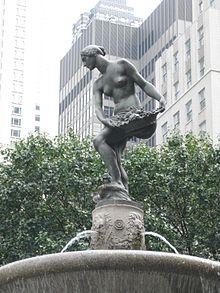 Doris Doscher (Baum) modeled for Karl Bitter's Abundance in the Pulitzer Fountain at the Plaza Hotel in New York.